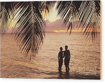 Silhouetted Couple Wood Print by Larry Dale Gordon - Printscapes