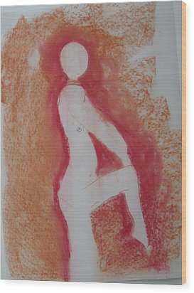 Silhouetted Figure Wood Print by AJ Brown