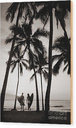 Silhouetted Surfers - Sep Wood Print by Dana Edmunds - Printscapes