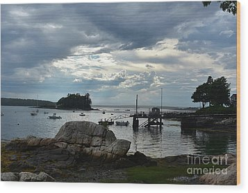 Silhouetted Views From Bustin's Island In Maine Wood Print by DejaVu Designs