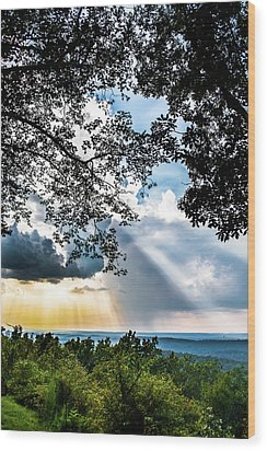 Wood Print featuring the photograph Silhouettes At The Overlook by Shelby Young