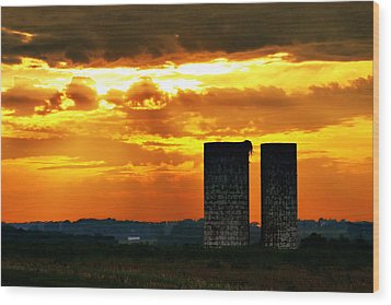 Silos At Sunset Wood Print by Michelle Joseph-Long