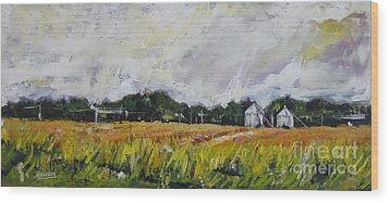 Wood Print featuring the painting Silos by Debora Cardaci