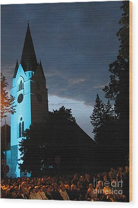 Wood Print featuring the photograph Silute Lutheran Evangelic Church Lithuania by Ausra Huntington nee Paulauskaite