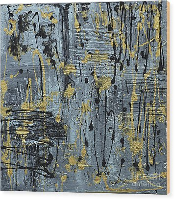 Wood Print featuring the painting Silver And Gold  by Cathy Beharriell