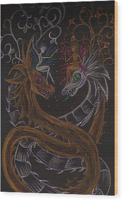 Wood Print featuring the drawing Silver And Gold by Dawn Fairies