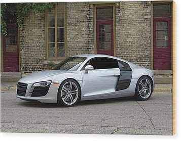 Wood Print featuring the photograph Silver Audi R8 by Joel Witmeyer