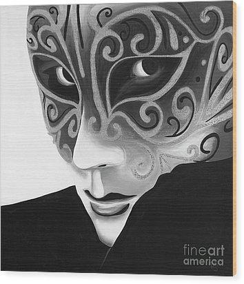 Silver Flair Mask - Bw Wood Print by Patty Vicknair