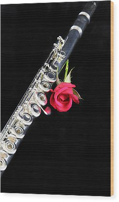 Silver Flute Red Rose Wood Print