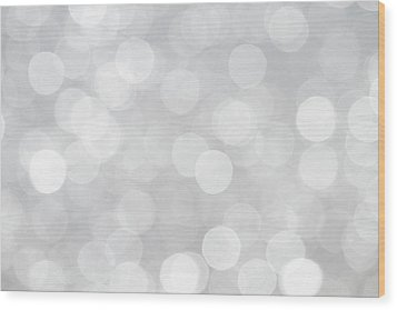 Silver Grey Bokeh Abstract Wood Print by Peggy Collins