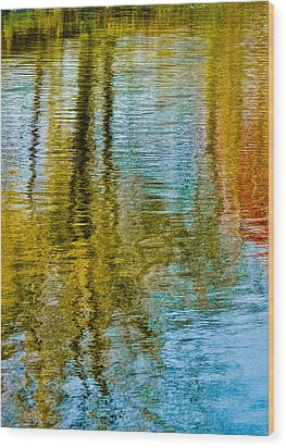 Silver Lake Autum Tree Reflections Wood Print by Michael Bessler