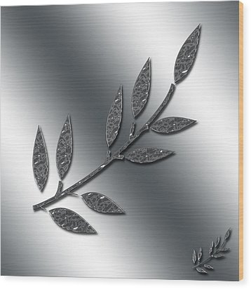 Silver Leaves Abstract Wood Print