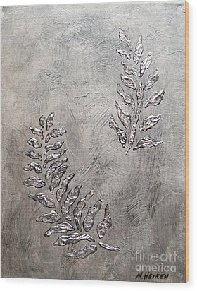 Silver Leaves Wood Print