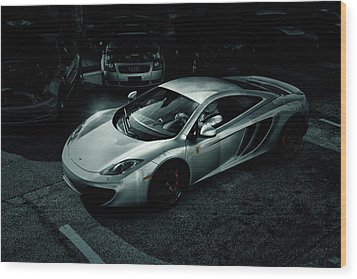 Wood Print featuring the photograph Silver Mclaren by Joel Witmeyer