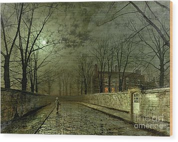 Silver Moonlight Wood Print by John Atkinson Grimshaw