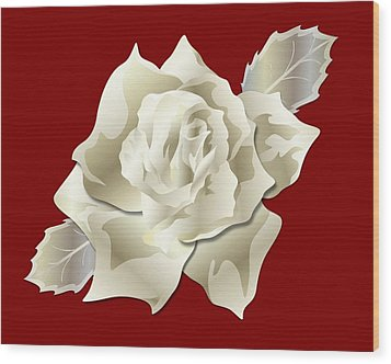 Silver Rose Graphic Wood Print by MM Anderson