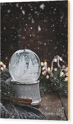 Wood Print featuring the photograph Silver Snow Globe by Stephanie Frey