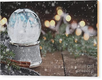 Wood Print featuring the photograph Silver Snow Globe With White Christmas Trees by Stephanie Frey