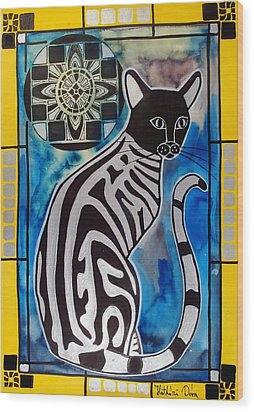 Silver Tabby With Mandala - Cat Art By Dora Hathazi Mendes Wood Print