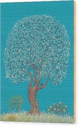 Silver Tree Wood Print