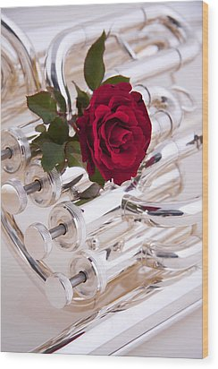 Silver Tuba With Red Rose On White Wood Print by M K  Miller