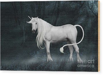 Silver Unicorn Standing In Miisty Forest Wood Print