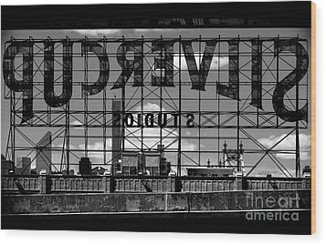 Silvercup Studios Sign Backside Wood Print by James Aiken