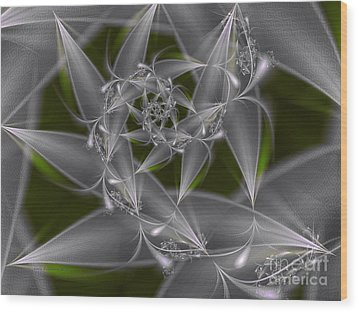 Wood Print featuring the digital art Silverleaves by Karin Kuhlmann
