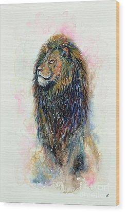 Wood Print featuring the painting Simba by Zaira Dzhaubaeva