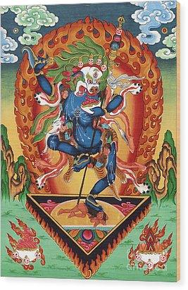 Simhamukha - Lion Face Dakini Wood Print