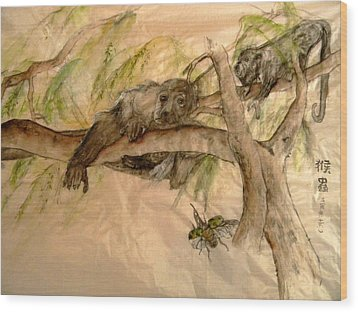 Wood Print featuring the painting Simian And Beetle by Debbi Saccomanno Chan
