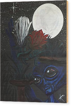 Wood Print featuring the painting Similar Alien Appreciates Flowers By The Light Of The Full Moon. by Similar Alien