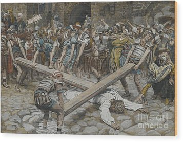 Simon The Cyrenian Compelled To Carry The Cross With Jesus Wood Print by Tissot