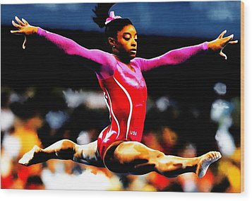Simone Biles Wood Print by Brian Reaves