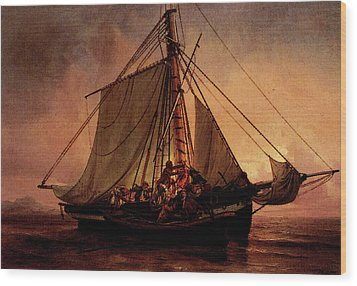Simonsen Niels Arab Pirate Attack Wood Print by Niels Simonsen