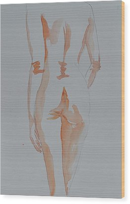 Wood Print featuring the painting Simple Nude by Beverley Harper Tinsley