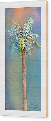 Simple Palm Tree Wood Print by Arline Wagner