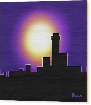 Simple Skyline Silhouette Wood Print