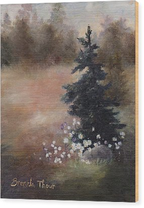 Wood Print featuring the painting Simplicity by Brenda Thour