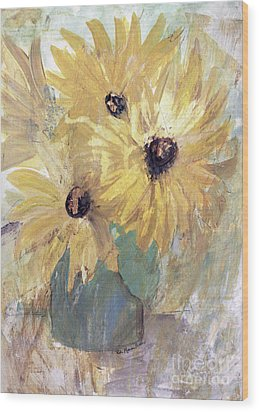 Wood Print featuring the painting Simply Sunflowers  by Robin Maria Pedrero