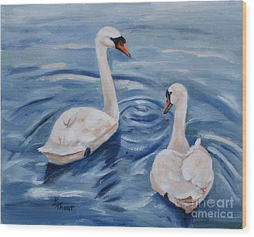 Simply Swans Wood Print