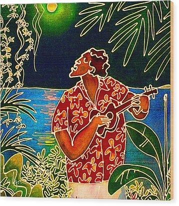 Sing Hanalei Moon Wood Print by Angela Treat Lyon