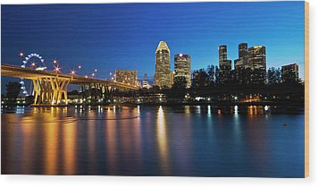 Singapore - Blue Hour Wood Print by Ng Hock How