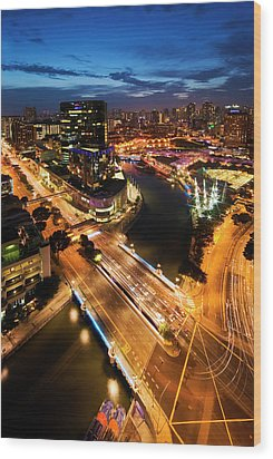 Wood Print featuring the photograph Singapore - Clarke Quay by Ng Hock How