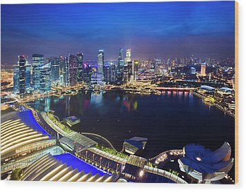 Singapore - View From Marina Bay Sands Wood Print by Ng Hock How