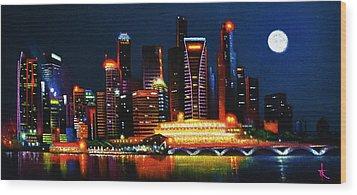 Singapore Aglow Wood Print