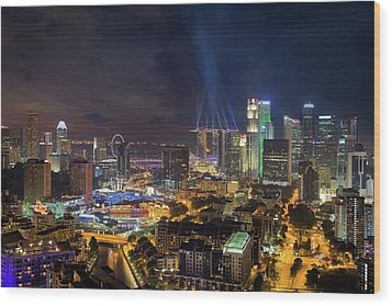Singapore City Lights Wood Print by David Gn