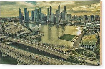 Singapore City On The Move Wood Print by Paul W Sharpe Aka Wizard of Wonders