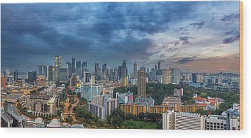 Singapore Cityscape At Sunset Wood Print by David Gn