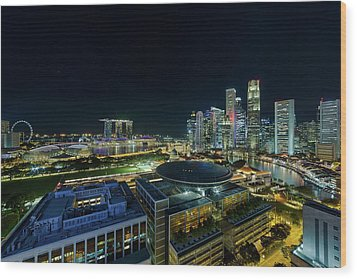 Singapore Modern Skyline By The River At Night Wood Print by David Gn